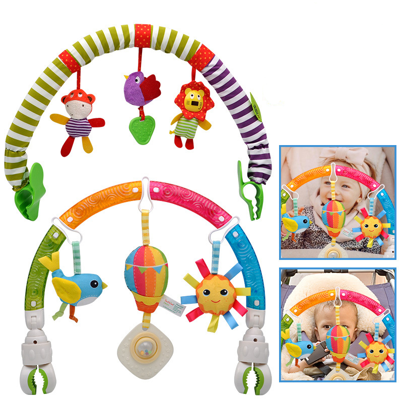 Baby Stroller Pendant Bed Clip Hanging Rattle Toy Music Teether Fun Early Education Color Car Seat Toy Gift for Kids 0-12 Months