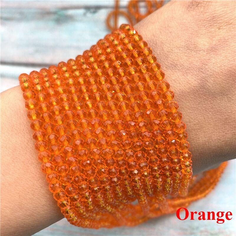 40 цветов 1 нить 2X3 мм/3X4 мм/4X6 мм хрустальные бусины rondelle хрустальные бусины стеклянные бусины для самостоятельного изготовления ювелирных изделий - Цвет: Orange