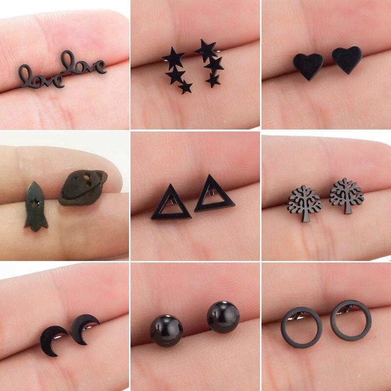 Hfarich Minimalist Jewelry Black Star Earrings For Women Punk Small Love Letter Circle Moon Ear Earrings Piercing Pendients 2019