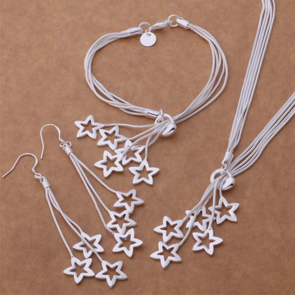 Fine jewelry set 925 sterling silver classic for women lady wedding star Bracelet necklace earring chain jewelry set hot gift