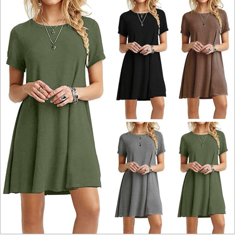 2020 Spring Summer Casual Dress Women Solid Color Mini Dress Elegant Party Night Streetwear Dress Simple Lady Dress O-Neck