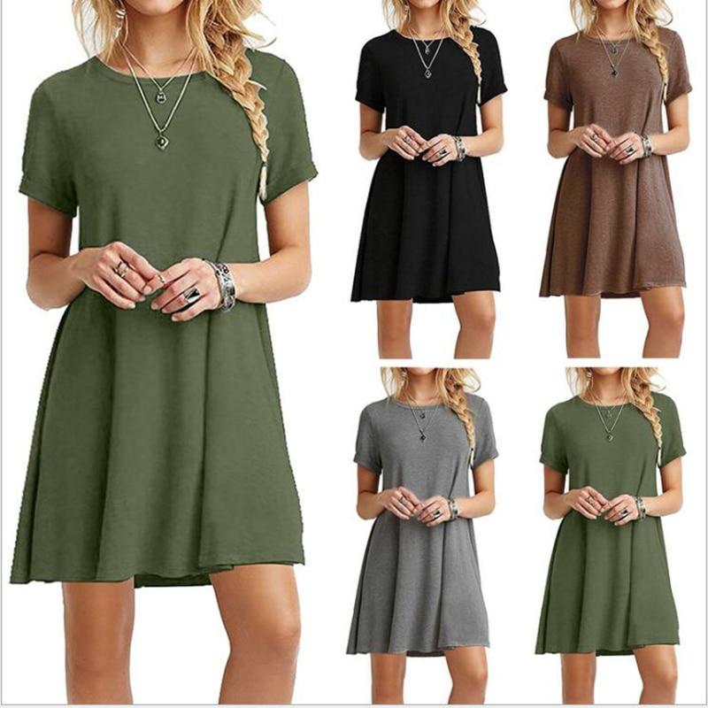 2020 Spring Summer Casual Dress Women Solid Color Mini Dress Elegant Party Night Streetwear Dress Simple Lady Dress O-Neck