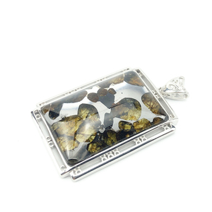 Image 5 - 本物の天然 Gibeon 鉄隕石モルダバイト女性男性ネックレス 38 × 25 ミリメートルシルバージュエリー葉彫刻宝石用原石のペンダント AAAAA