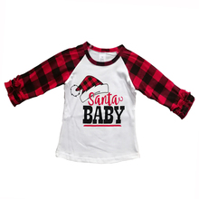 Little Boy Girl Xmas T-Shirt Child Fall Clothes Black Red Plaid Cotton Boutique Tops Ruffles Raglan Santa Baby Children Clothes цены онлайн