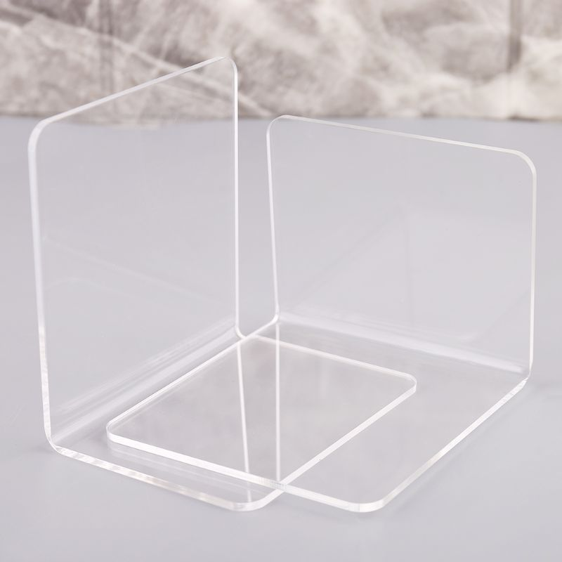 2Pcs Clear Acrylic Bookends L-shaped Desk Organizer Desktop Book Holder School Stationery Office Accessories M17F