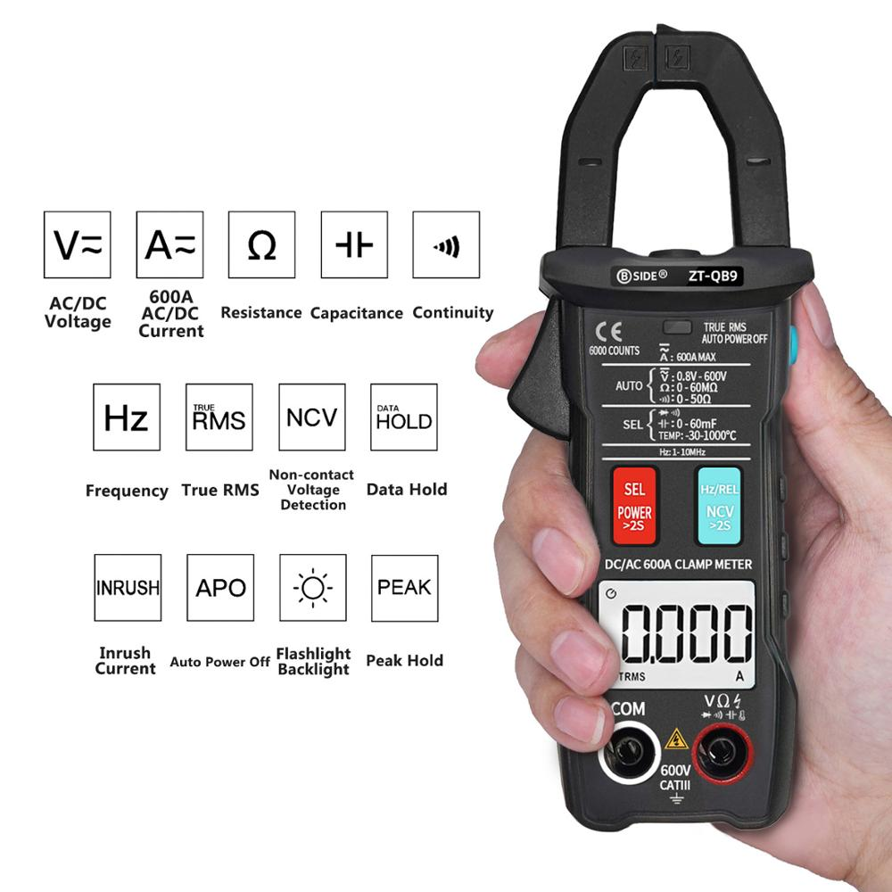 6000 Voltage Inrush Current Meter Meter RMS True Clamp 600A Ranging Temperature Check Capacitance Test DC Counts BSIDE Live Auto