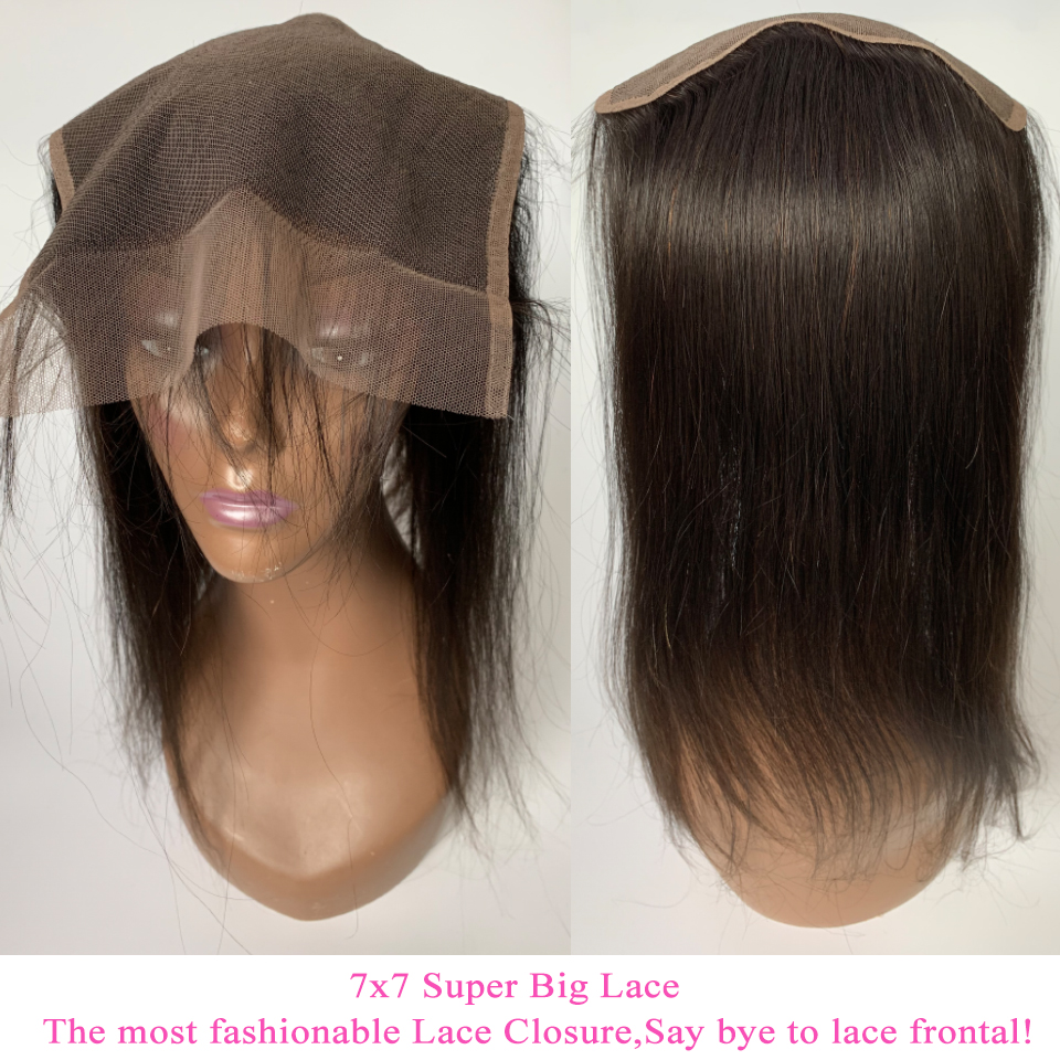 Image 5 - 7x7 Lace Closure With Human Hair Bundles Queenlike Non Remy Weaving Big Lace 3 4 Brazilian Straight Hair Bundles With Closure-in 3/4 Bundles with Closure from Hair Extensions & Wigs
