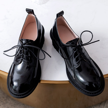 Lapolaka 2020 Hot Sale Genuine Leather Office Pumps Woman Shoes Chunky Heels Lace-Up Comfortable Shoes Women Pumps