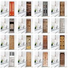 Retro Wood Grain Wallpaper Refrigerator Door Sticker Kitchen Decoration Fridge Cover Poster Waterproof PVC Wall Decal Home Decor