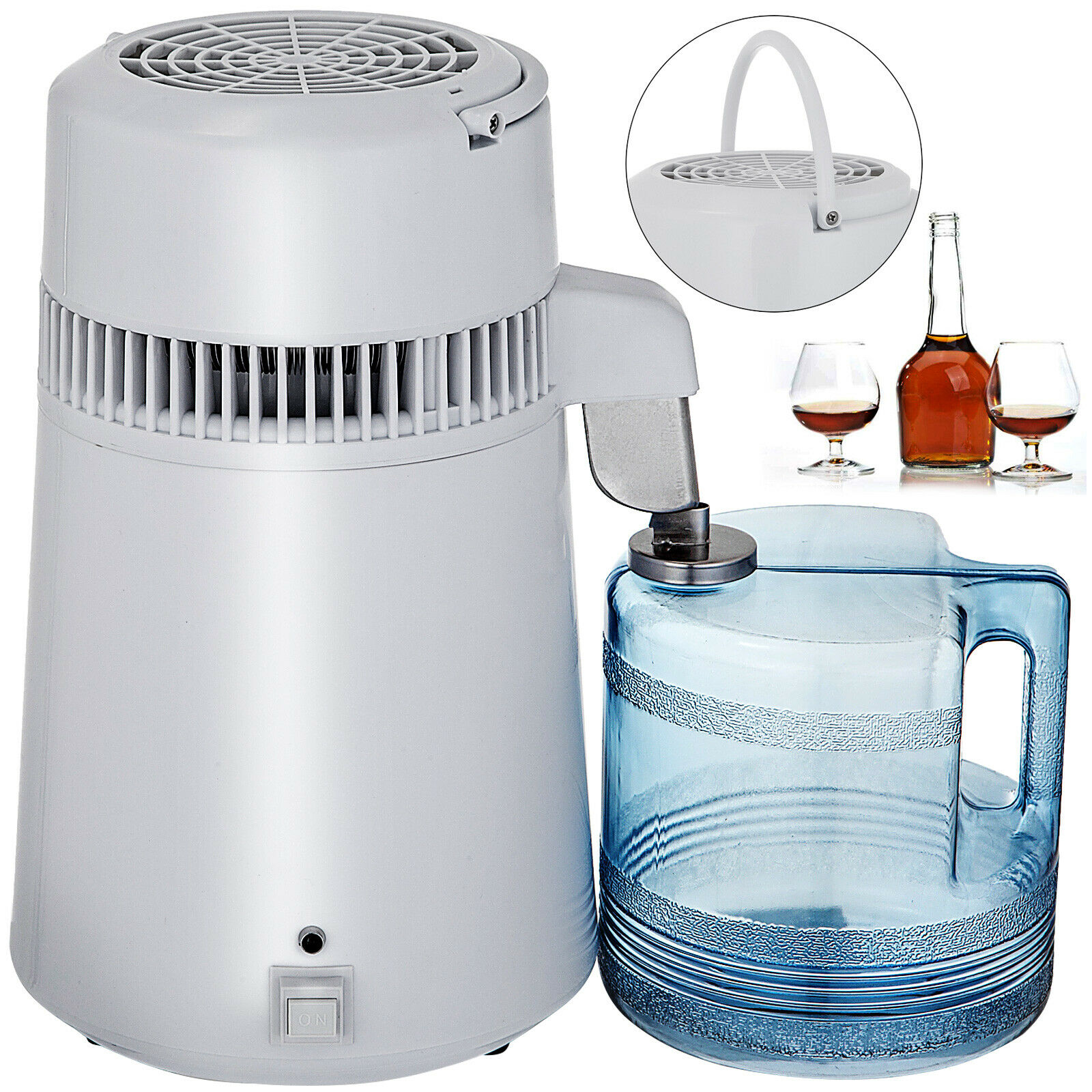 Stainless Steel Water Filter Pure Water 4L Distiller Purifier Dental Home 1L/H