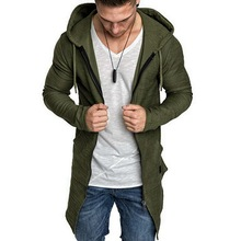 Shujin New Mens Hooded Solid Trench Coat Jacket Cardigan Long Sleeve Outwear Mal
