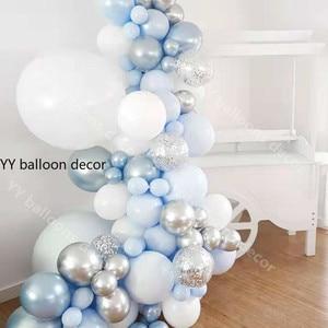 """Image 2 - 84 sztuk/zestaw zestaw balonowy Garland Arch 5 """" 18"""" Sliver biały niebieski balony na urodziny prysznice dla dzieci przyjęcie weselne dekoracje"""