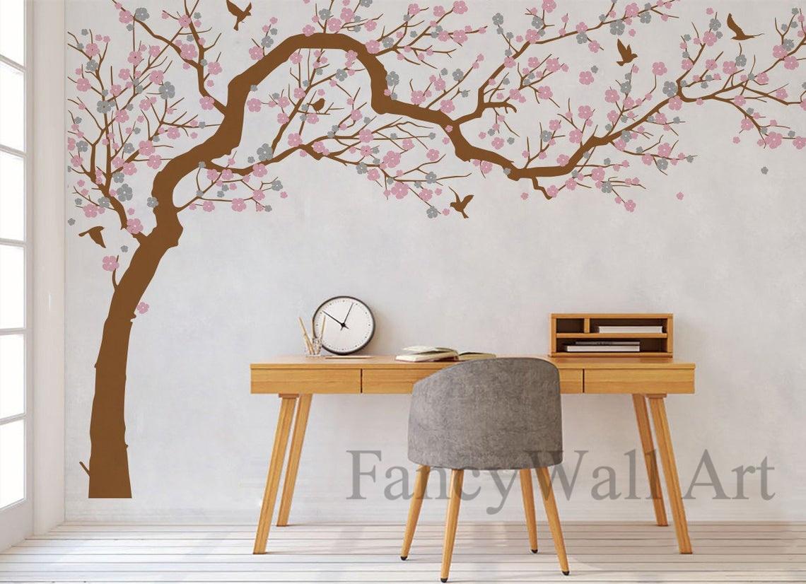 Elegant Large Tree Wall Vinyl Decals Custom Colours For Bedroom Wall Decor