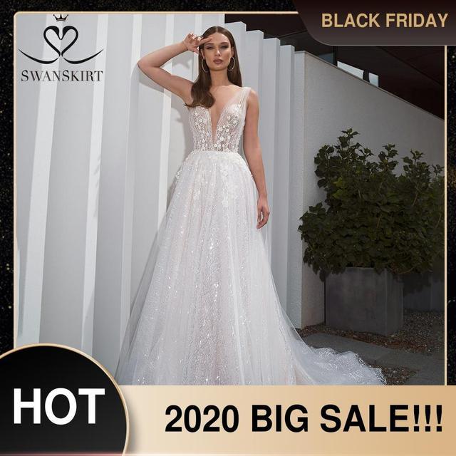 ロマンチックなvドレスswanskirt F261自由奔放に生きるビーズアップリケaライン3D花イリュージョン花嫁衣装vestidoデnoiva