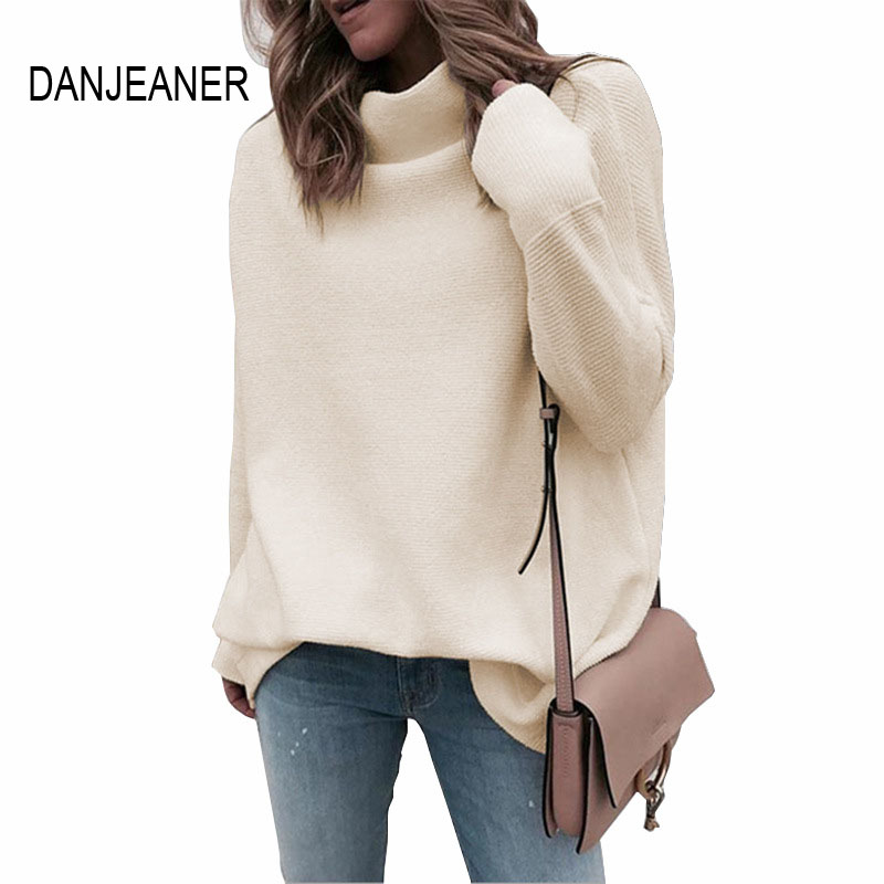 DANJEANER Fashion Half Turtleneck Knitted Pullovers Women Batwing Sleeve Solid Thin Oversized Sweater Slim Knitting Shirt Tops