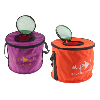 Foldable Fishing Bucket Collapsible Bucket Folding Round Outdoor Camping Canvas Water Carrier Bag with Mesh Cover Size S/L naturehike factory store outdoor collapsible water container folding bucket storage pe food grade camping foldable water bag