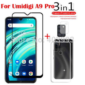3-in-1 Case Glass For UMIDIGI A9 Pro 32/48MP 6.3 Screen Protector Glass Full Protection on For UMIDIGI A9 Pro Camera Lens Glass