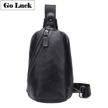 GO-LUCK Brand Genuine Leather Casual Travel Sling Chest Pack Men's Shoulder Bag Men Cowhide Messenger Bags Zipper Black
