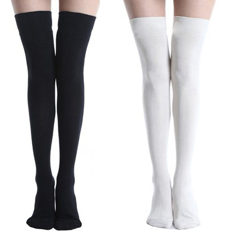 Stockings Cotton Girls Pure Color Long Knee High Socks JK Uniforms Socks Sports Long Socks For Girls Black And White Stockings