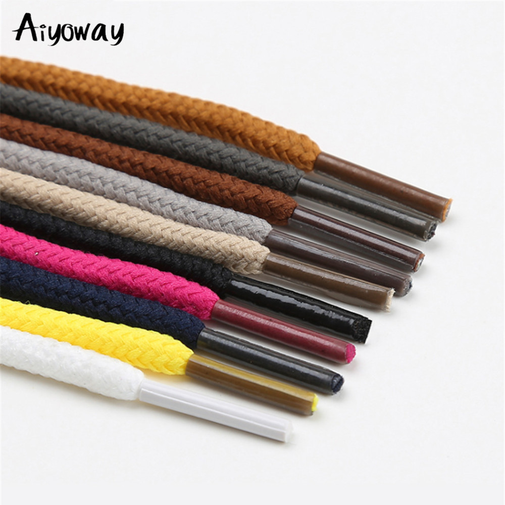 1Pair Round Shoelaces Polyester Solid 12 Colors 80cm 160 Cm Classic Martin Boots Shoelace Casual Sports Boots Shoes Lace