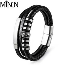 MINCN leather bracelet hand-made bracelet chain leather woven gold men's leather retro stainless steel leather rope цена
