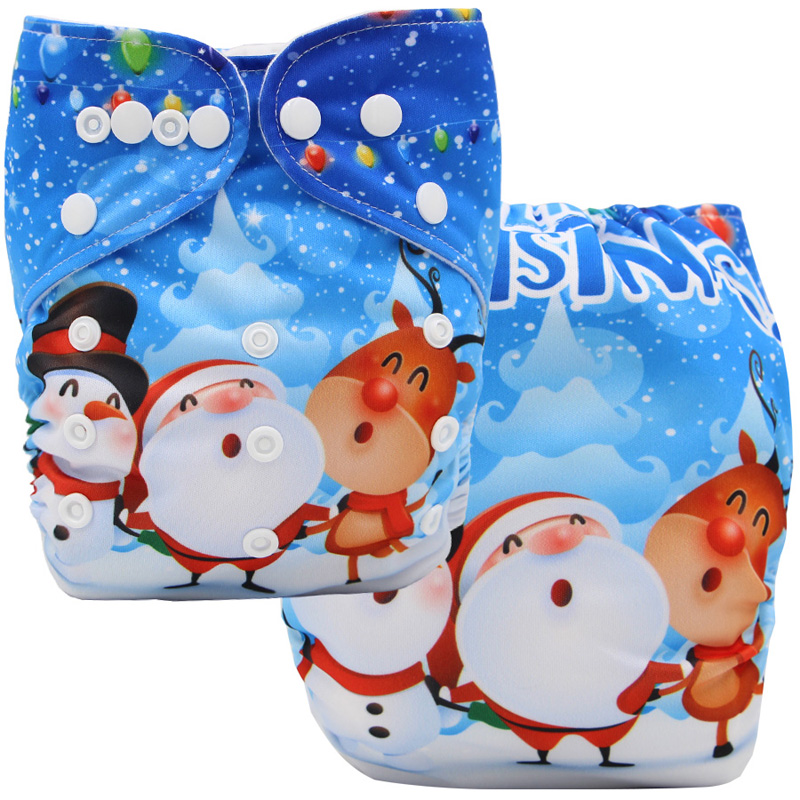 Waterproof Baby Cloth Diaper Position Digital Printed Christmas Snowman Reusable Nappies One Size Pocket Baby Diapers Fit 3-15kg