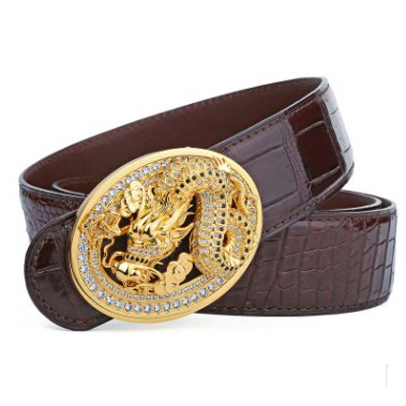 LINSHE New  Men  The Belt  Crocodile  Belts  Personality  Fashion  Tap Button  Business  Smooth Buckle  Men Belt