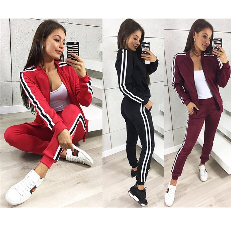 2019 Spring AliExpress WOMEN'S Two-piece Suit Cross Border Webbing Fashion Casual Zipper Multi-color Sports Set 83213