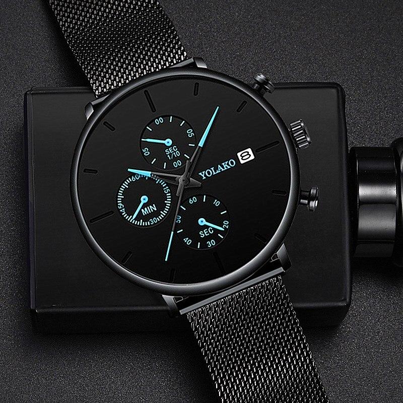 2019 Men's Business Watch Quartz Luxury Simple Blue Pointer Scrub Dial Male Fashion Atmosphere Calendar WristWatch Montre Homme