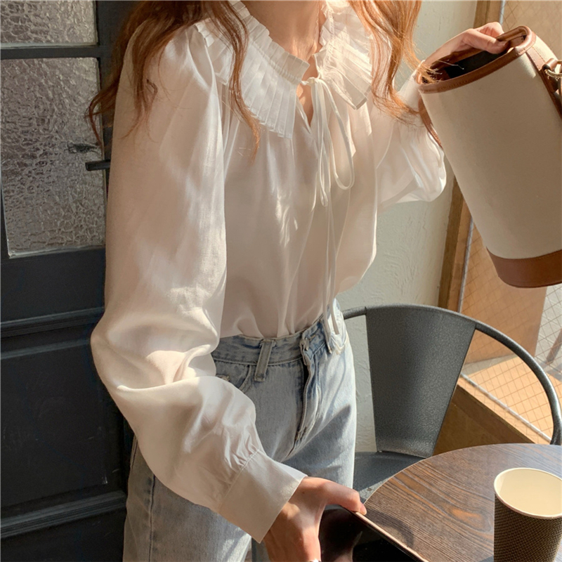 H7383d68603e04ead85d0426261827b49v - Spring / Autumn Lace-Up Collar Long Sleeves Loose Solid Blouse