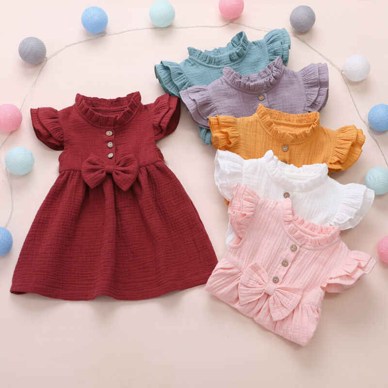 2020 Princess Toddler Kids Baby Girl Dress 1-6Y Solid Linen Button Ruffle Sleeve Turn Down Collar Bow Party A-Line Dress Clothes
