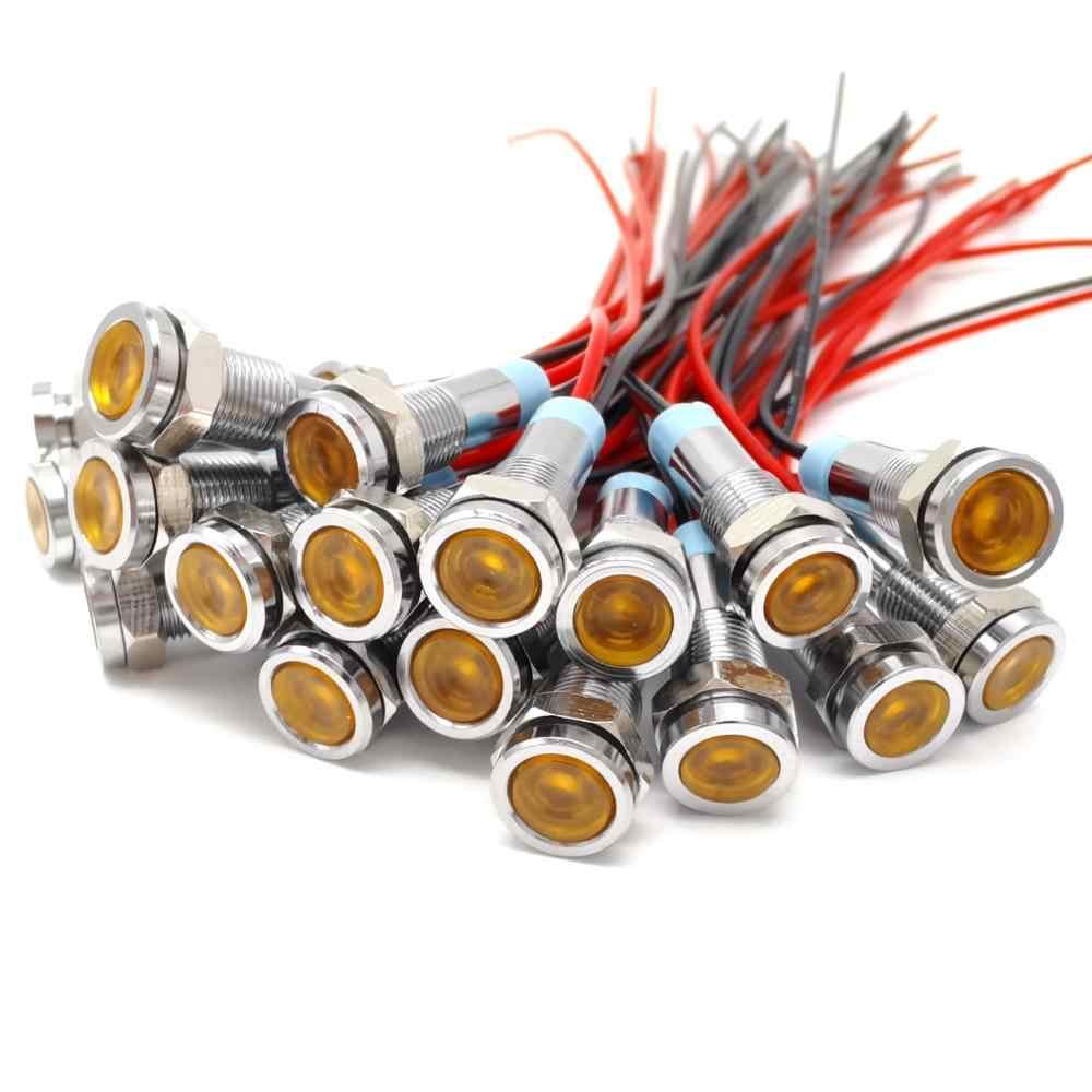 6mm indicatore luminoso a LED in metallo lampada di segnalazione impermeabile 6V 12V 24V 220v rosso/giallo/blu/verde/bianco