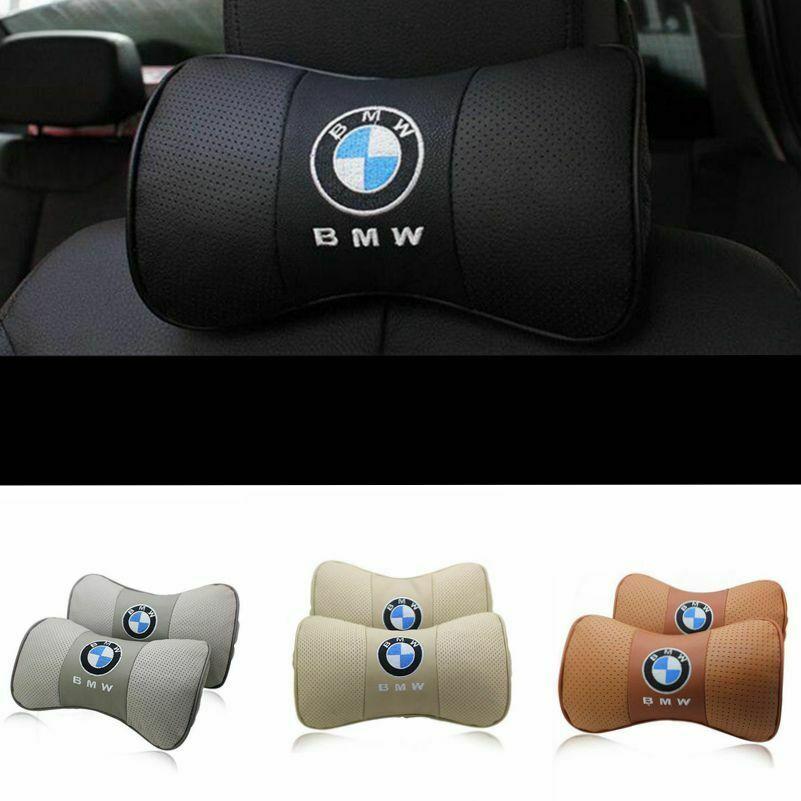 2Pcs Car Rest Cushion Headrest Pillows Mat Pad Neck Holder Brace For BMW