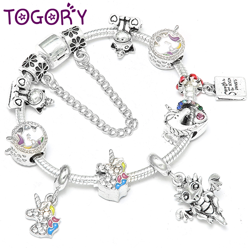 TOGORY Lovely Unicorn Crystal Beads Charm Bracelets & Bangles 8 Styles Cartoon Pendant Bracelet For Women Femme Kids DIY Jewelry