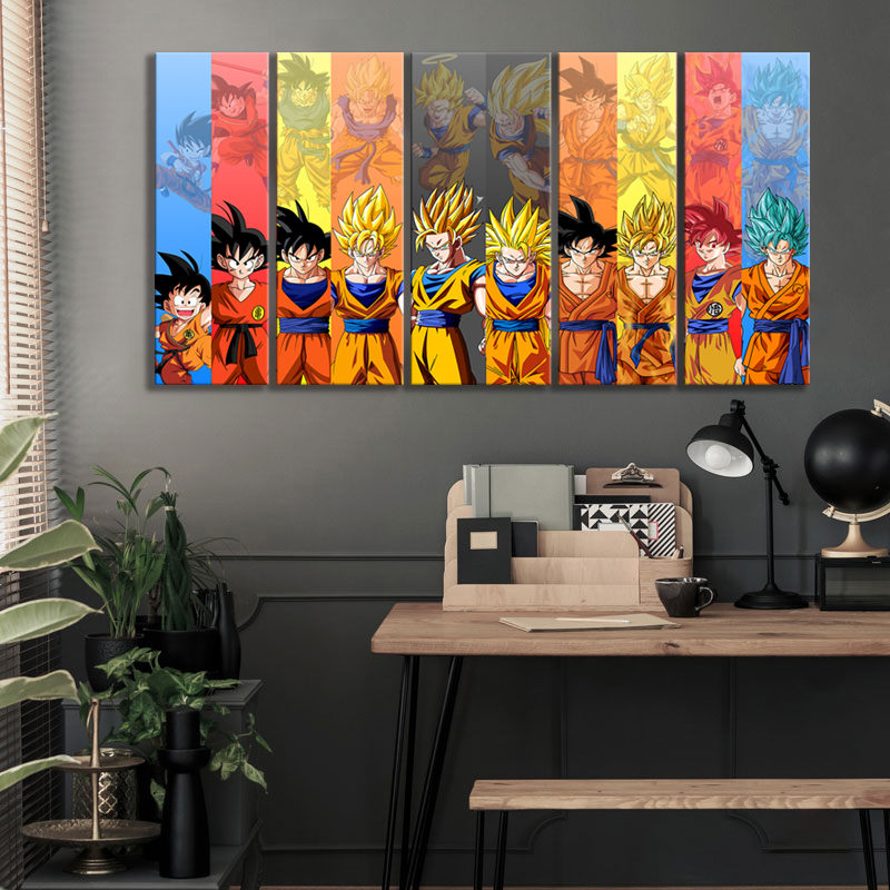 5pcs Dragon Ball Z Anime Poster Goku Pictures Canvas Wall Art Decorative Paintings for Bedroom Decor 2