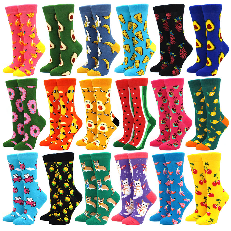 Hot Sale Colorful Women's Cotton Crew Socks Funny Banana Cat Animal fruit Pattern Creative Ladies Novelty Cartoon Sock For Gifts