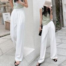 Pantalon d'été blanc Style OL pour femmes, jambes larges Chic, taille haute, élégant, de travail, décontracté