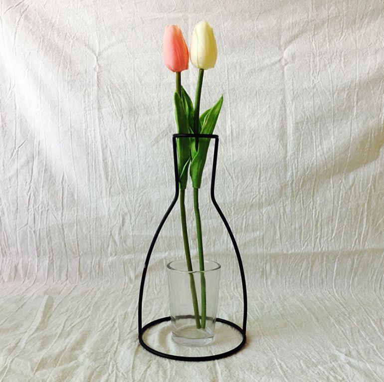 Новая креативная ваза DIY вечерние ваза черный держатель для растений подставка держатель железный провод цветок вазы орнамент жизнь - Цвет: A
