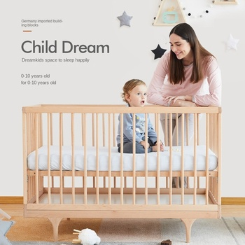 Luxury Multifunctional Solid Wood Baby Cribs 6 In 1 Study Desk Drawing Board Game bed Log European Style Baby Newborn Kids Bed недорого