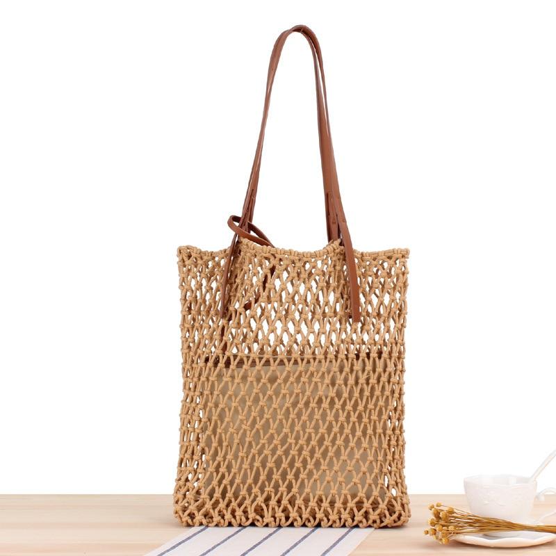 New Woven Bags Handmade Cotton Handbag Foldable Shopping Bag Reusable Net Bag Shoulder Pack For Women Summer Tote Beach Holiday