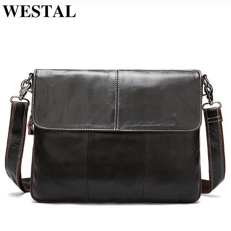 WESTAL Messenger Bag Men's Genuine Leather Shoulder Bags For Men Crossbody Bags Men's Leather Bag Male Handbags Satchels 8007