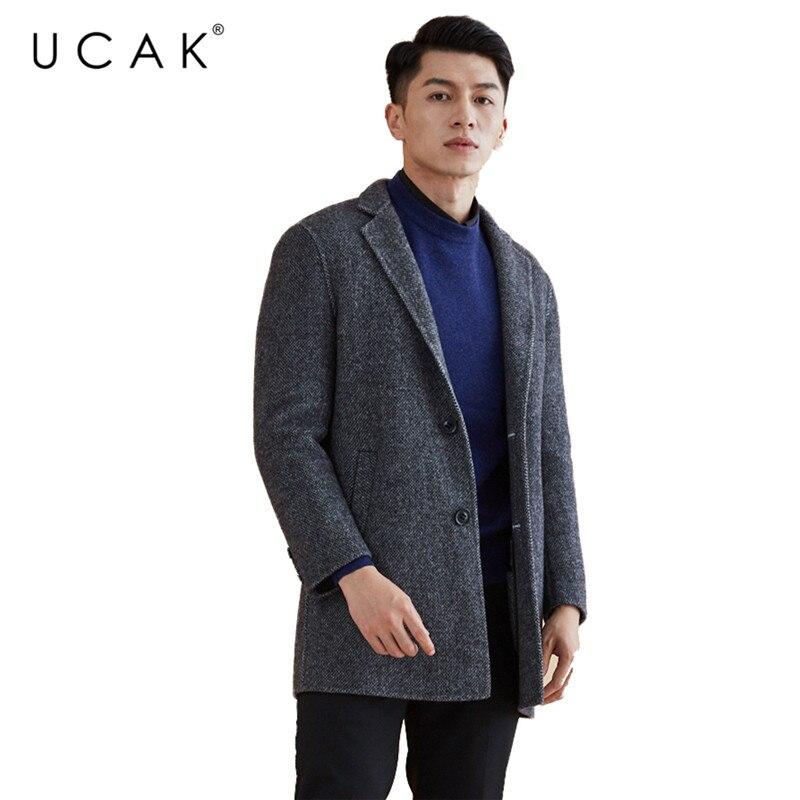 UCAK Brand 100% Wool Coat 2019 New Arrival Winter Coat Men Fashion Casual Jacket Men Thick Warm Mens Coats trench Overcoat U8004