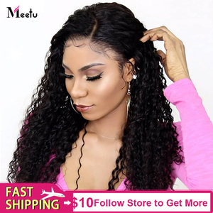 Image 1 - Meetu  Curly Human Hair Wig 8 26 Inch Malaysian 13x4 Lace Front Human Hair Wigs Pre Plucked Lace Closure Wigs 100% Remy Hair Wig