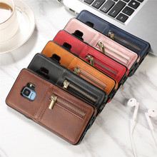 Phone Case sFor Coque Samsung Galaxy S8 S9 Plus Luxurry Zipper Leather Wallet Cover For Capa
