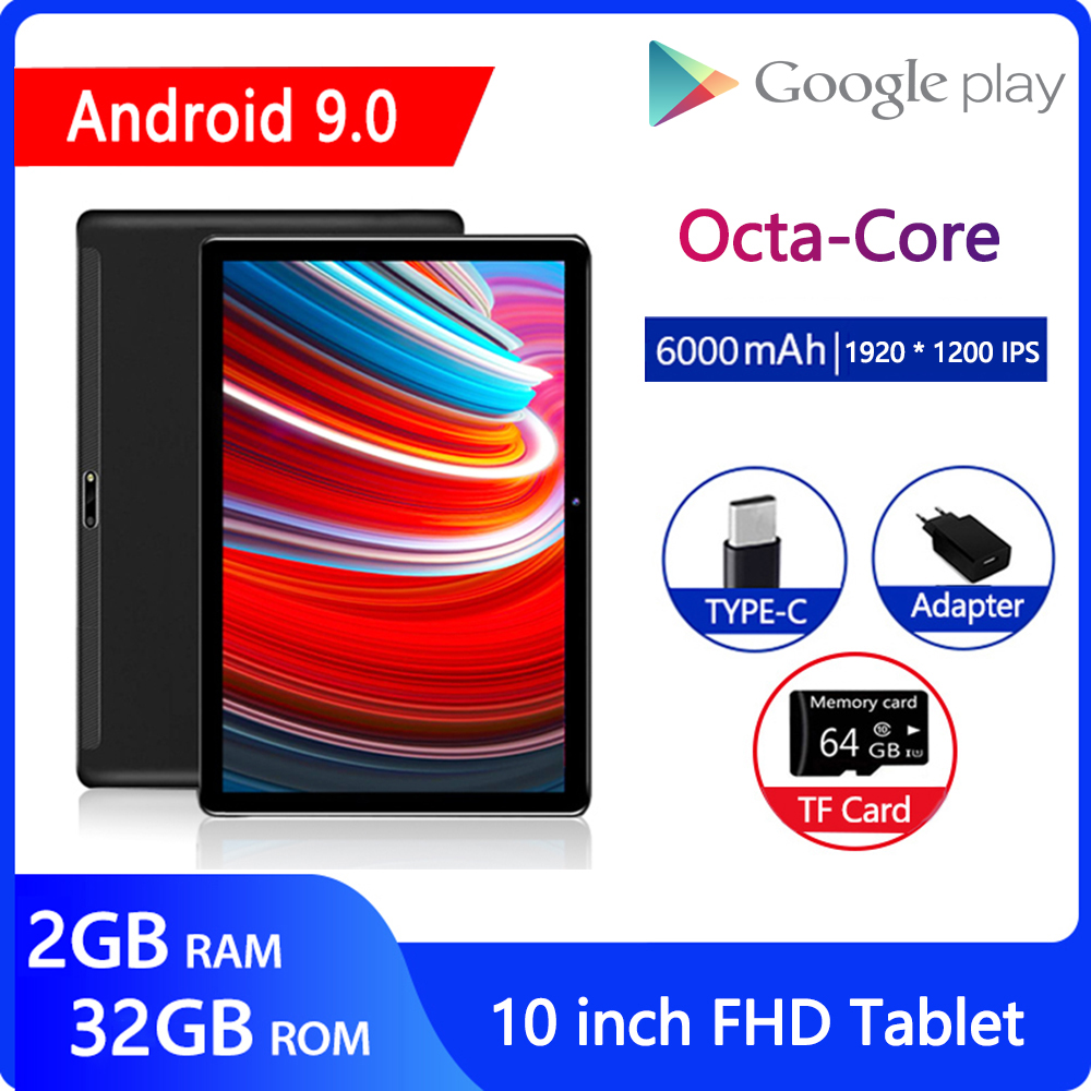 ZONKO Tablet 10 Inch Android 9.0 Tablet PC Octa Core Tablets 5G Wifi 1920*1200 2G RAM 32G ROM GPS Gaming Tablet GMS Google Play