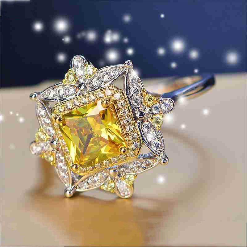 Luxury 925 Anillos Silver Citrine White Topaz Wedding Engagement Cocktail Party For Women AAAA Zircon Ring Jewelry Wholesale