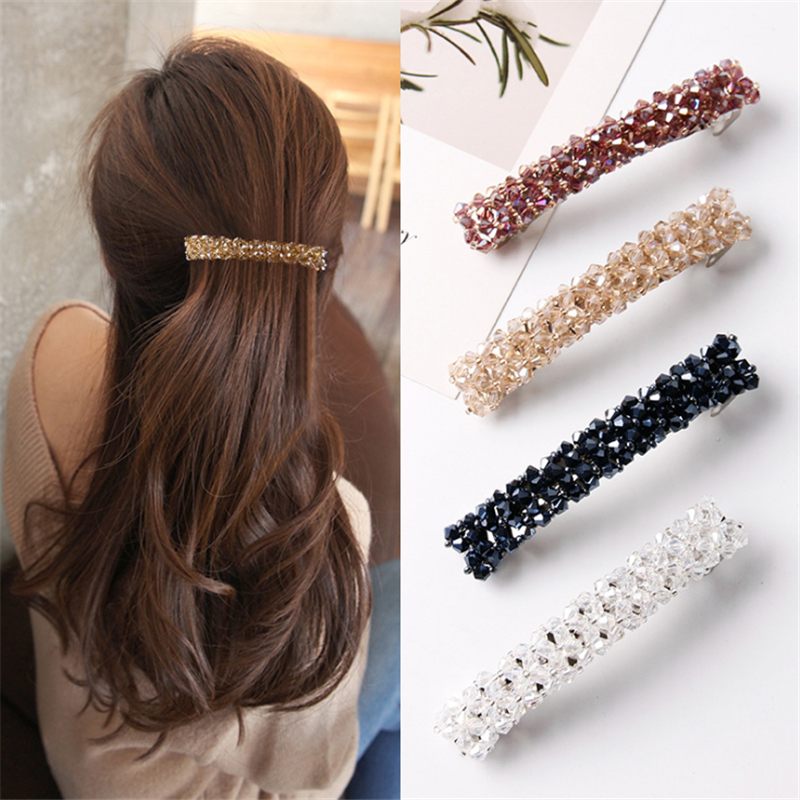 1PCS Fashion Bling Rhinestone Hair Clips For Women Girls Elastic Crystal Barrettes Stick Hairpins Headwear Hair Accessories