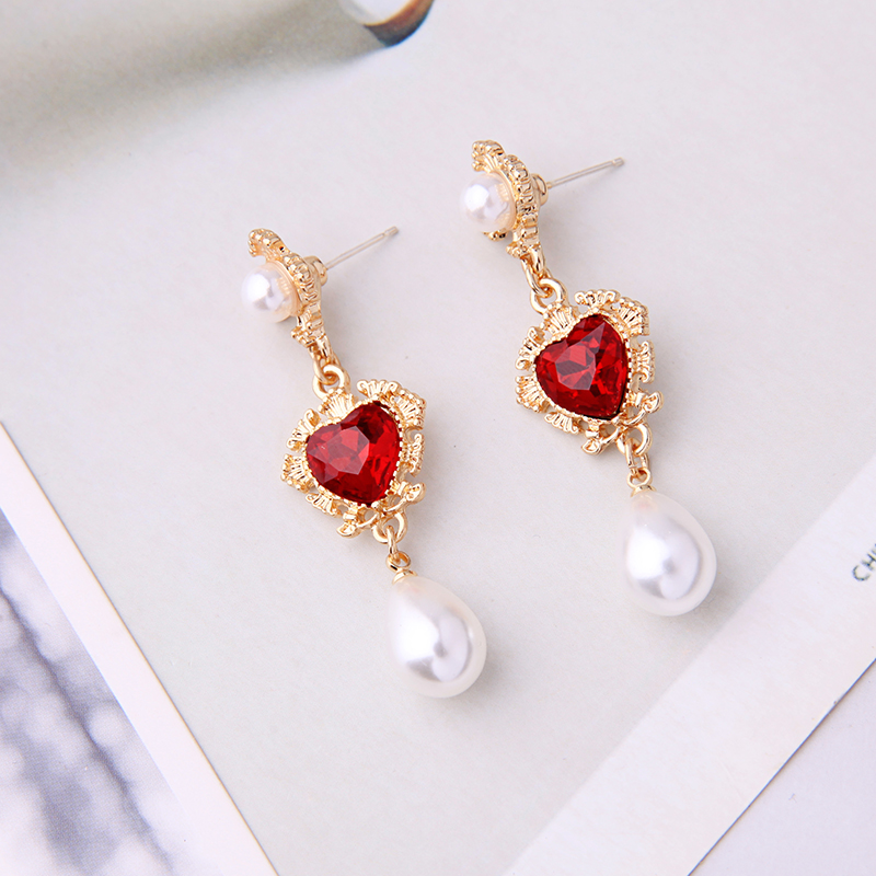 Handmade Gold Color Red Acrylic Glass Heart Drop Earring For Women Wholesale Free Shipping
