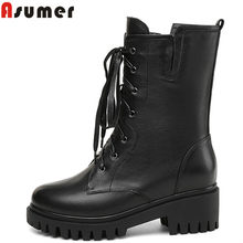 ASUMER 2020 new genuine leather women boots lace up&zipper casual ankle boots round toe square high heels autumn winter shoes(China)