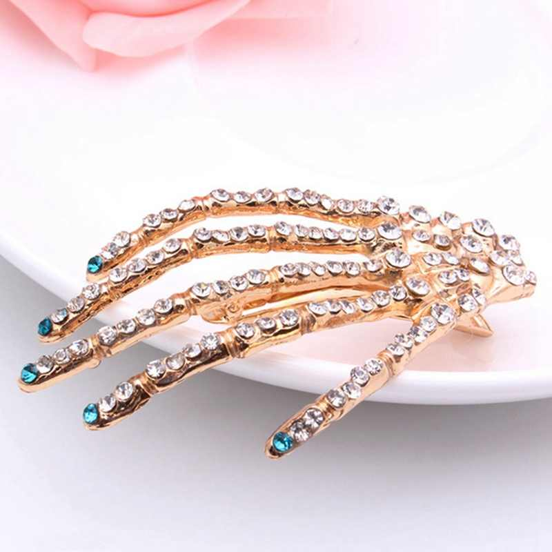 New Rhinestone Skull Hand Bone Hairpin Gripper Ghost Skeleton Hair Clips Hairclips Crystal Bone Claw Halloween Hair Accessories